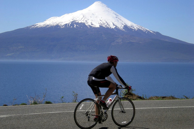 View of Osorno Volcano during Cycling Tour in Chile´s Lake District