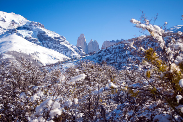 Torres del Paine Winter Tour - The Towers covered in Snow